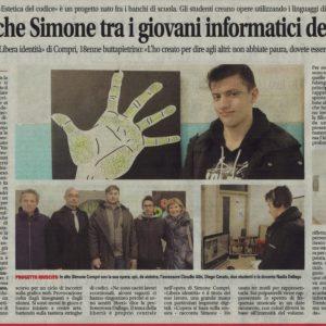 Articolo Simone Compri, mostra Estetica del Codice, Buttapietra